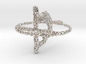 voronoi yoga earring pendant in Rhodium Plated Brass