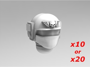 Imperial Soldier Heads Set 4 10x or 20x in Smoothest Fine Detail Plastic: Medium