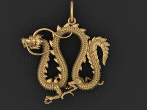 Dragon pendant # 4 in Fine Detail Polished Silver