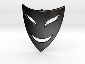 Drama Mask Pendant - Happy  in Matte Black Steel