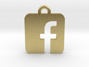 Facebook logo all materials necklace keychain gift in Natural Brass