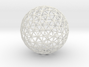 Geodesic Sphere, large in White Natural Versatile Plastic