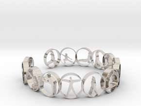 Yoga bangle with 14 poses. 66.9 mm in Rhodium Plated Brass