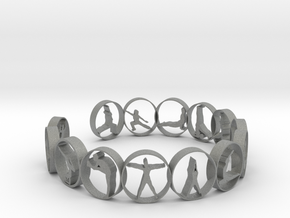 Yoga bangle with 14 poses. 66.9 mm in Gray PA12