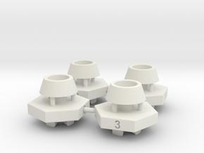 Schumacher CAT hex adaptor - 14mm x 3mm x 4 off in White Natural Versatile Plastic