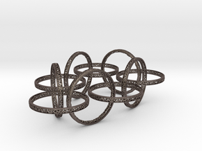 Ten hoop voronoi bracelet 7 inches approximately in Polished Bronzed-Silver Steel