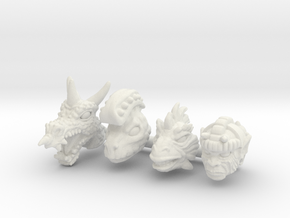 Galaxy Warrior Heads 4-Pack #3 - Multisize in White Natural Versatile Plastic: Extra Small