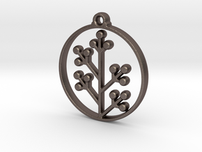 Floral Pendant VI in Polished Bronzed-Silver Steel