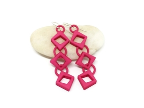 Diamond Drop Earrings in Pink Processed Versatile Plastic