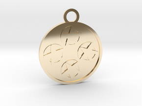 Four of Pentacles in 14k Gold Plated Brass