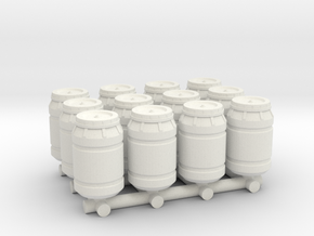 1-87 Scale Olive Barrels x12 in White Natural Versatile Plastic