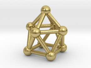 0748 J10 Gyroelongated Square Pyramid (a=1cm) #3 in Natural Brass