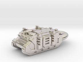 Rhino Tank Pendant necklace space marine in Rhodium Plated Brass