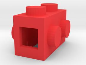 Custom LEGO-inspired brick 2x1 in Red Processed Versatile Plastic