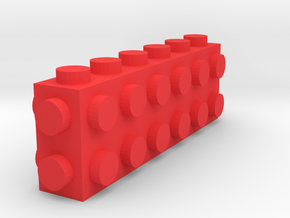 Custom LEGO-inspired brick 6x1x2 in Red Processed Versatile Plastic