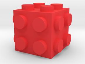 Custom LEGO-inspired brick 2x2x2 in Red Processed Versatile Plastic
