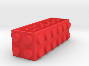 Custom LEGO-inspired brick 6x2x2 in Red Processed Versatile Plastic