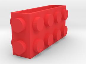 Custom LEGO-inspired brick 4x1x2 in Red Processed Versatile Plastic