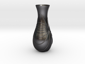 Vase-10 in Polished and Bronzed Black Steel