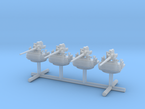 1/530 USN Single 5 inch (127 mm) 38cal gun set x4 in Smooth Fine Detail Plastic