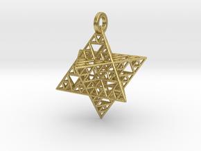 Sierpinski Merkaba Pendant in Natural Brass