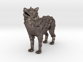 Timber wolf in Polished Bronzed-Silver Steel