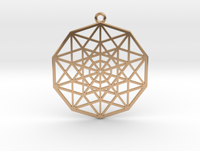 5D Hypercube in Polished Bronze