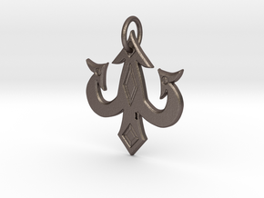 luck charm keychain in Polished Bronzed-Silver Steel: Medium