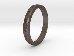 Digital Heart Ring 3 in Polished Bronzed-Silver Steel