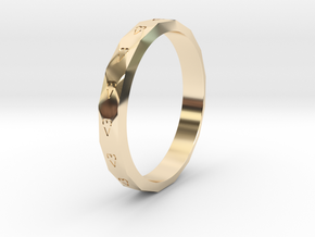 Digital Heart Ring 3 in 14k Gold Plated Brass