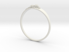 Succulent Ring in White Natural Versatile Plastic