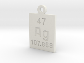 Ag Periodic Pendant in White Natural Versatile Plastic