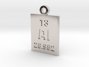 Al Periodic Pendant in Rhodium Plated Brass