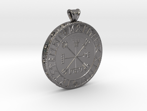 Icelandic Vegvisir Pendant in Polished Nickel Steel