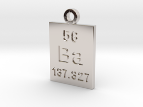 Ba Periodic Pendant in Rhodium Plated Brass