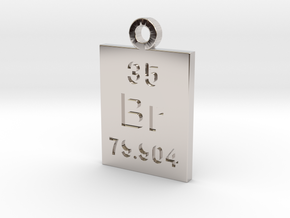 Br Periodic Pendant in Rhodium Plated Brass