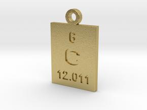 C Periodic Pendant in Natural Brass