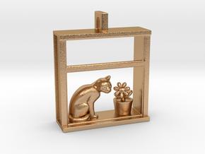 Cat in a Window Pendant in Natural Bronze