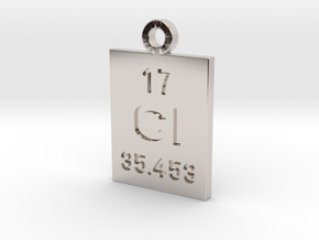 Cl Periodic Pendant in Rhodium Plated Brass