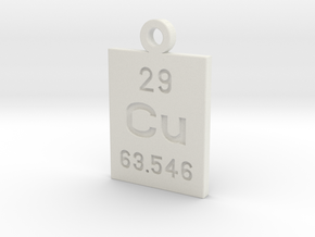 Cu Periodic Pendant in White Natural Versatile Plastic