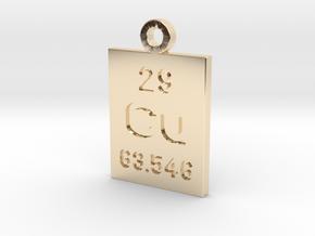 Cu Periodic Pendant in 14K Yellow Gold