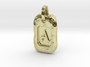 Old Gold Nugget Pendant A in 18k Gold Plated Brass