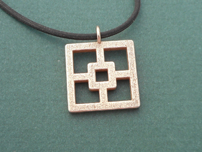 Breeze Block Pendant #1 - Polished Steel in Polished Bronzed-Silver Steel