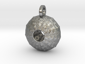 Sea Urchin Pendant in Natural Silver