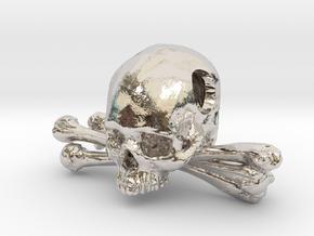 Skull and Crossbones Pendant in Rhodium Plated Brass
