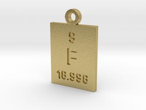 F Periodic Pendant in Natural Brass