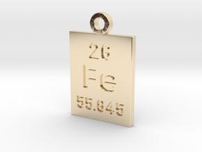 Fe Periodic Pendant in 14K Yellow Gold