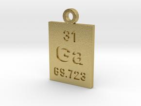 Ga Periodic Pendant in Natural Brass