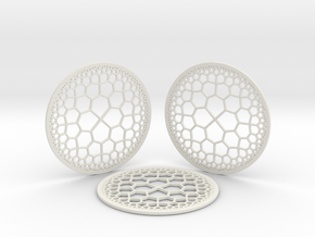 Hyperbolic T.Coasters  in White Natural Versatile Plastic