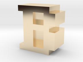 """B"" inch size NES style pixel art font block in 14K Yellow Gold"